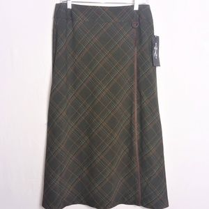 NWT Requirements Brown Plaid Midi Skirt Size 10